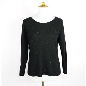 Eileen Fisher black merino wool crystal sweater M